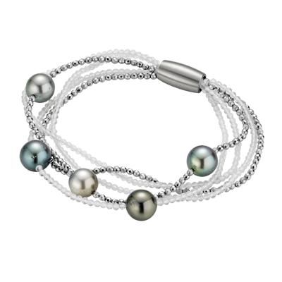 Armband Gellner Tahitiperle, Bergkristall, Hämatit,